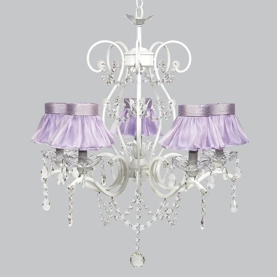 Grace White Five Light Lavender Ruffled Sheer Skirt Chandelier-Chandeliers-Default-Jack and Jill Boutique