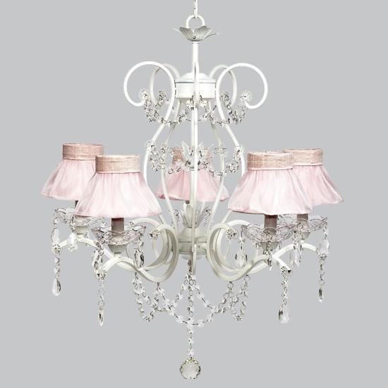 Grace White Five Light Pink Ruffled Sheer Skirt Chandelier-Chandeliers-Default-Jack and Jill Boutique