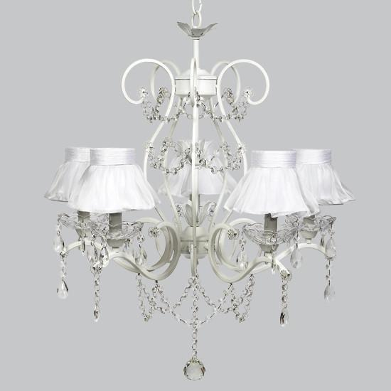 Grace White Five Light Ruffled Sheer Skirt Chandelier Shades-Chandeliers-Default-Jack and Jill Boutique