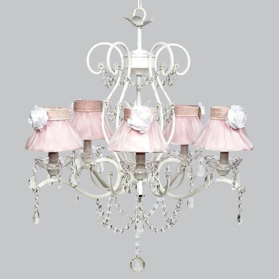 Grace White .Ruffled Sheer Skirt and White Rose Five Light Chandelier-Chandeliers-Default-Jack and Jill Boutique