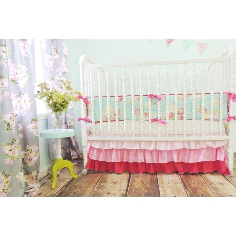Gradient Skirt Baby Bedding | Pink, Aqua Crib Bedding-Crib Bedding Set-Default-Jack and Jill Boutique