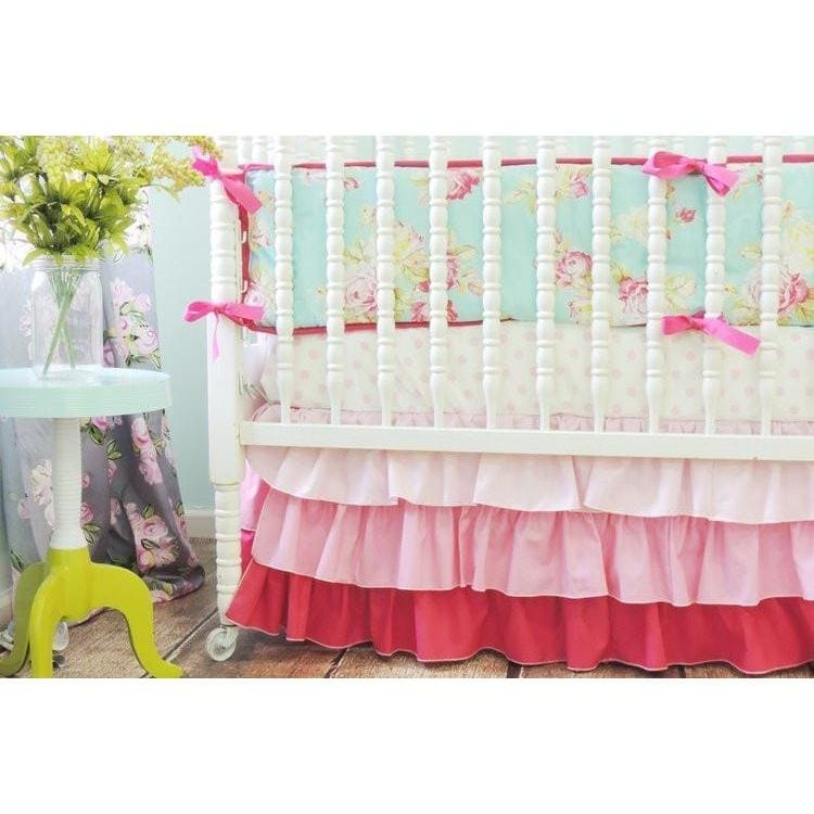 Gradient Skirt Baby Bedding | Pink, Aqua Crib Bedding-Crib Bedding Set-Tushies and Tantrums-Jack and Jill Boutique