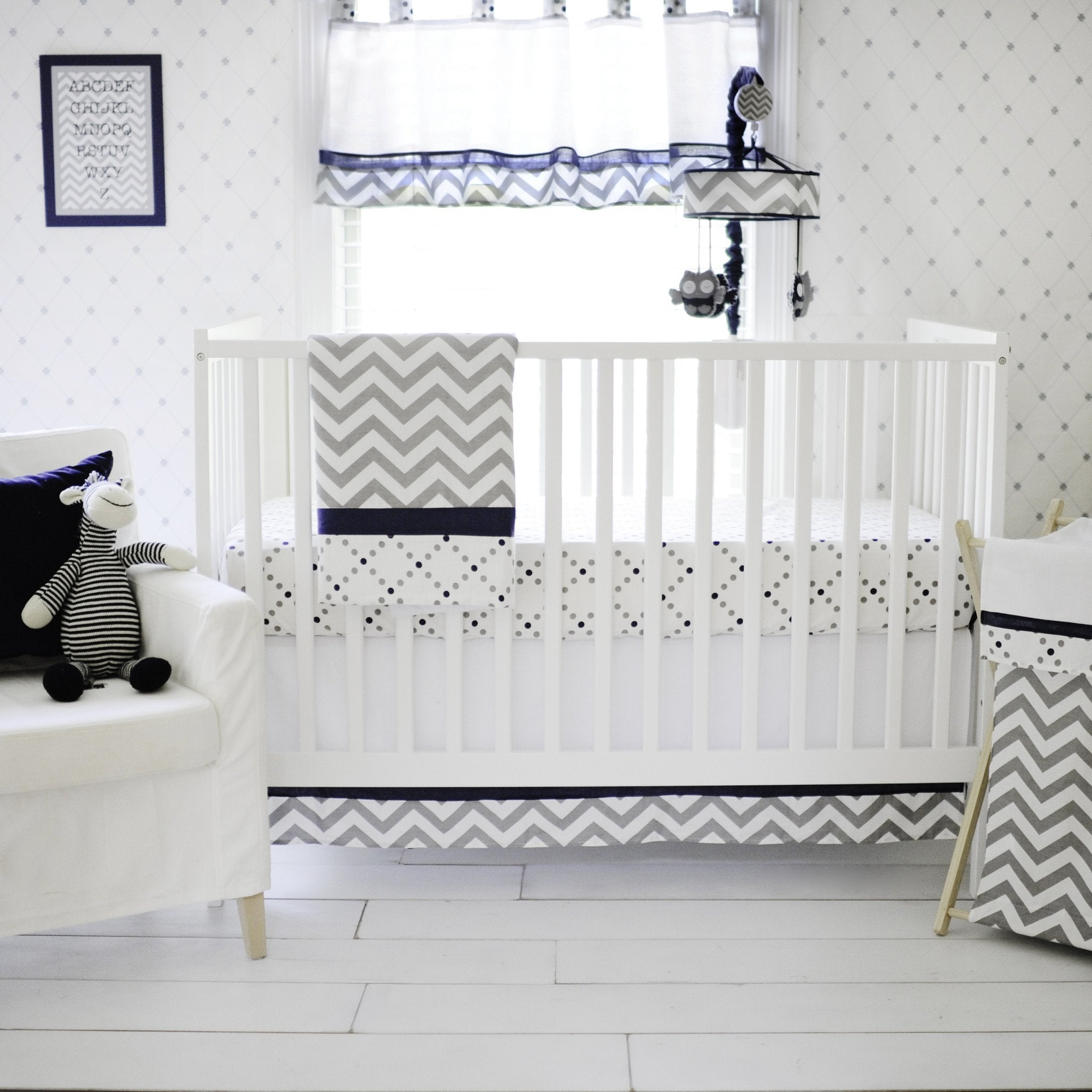 Gray And Navy Out Of The Blue Crib Bedding Set Jack And Jill Boutique