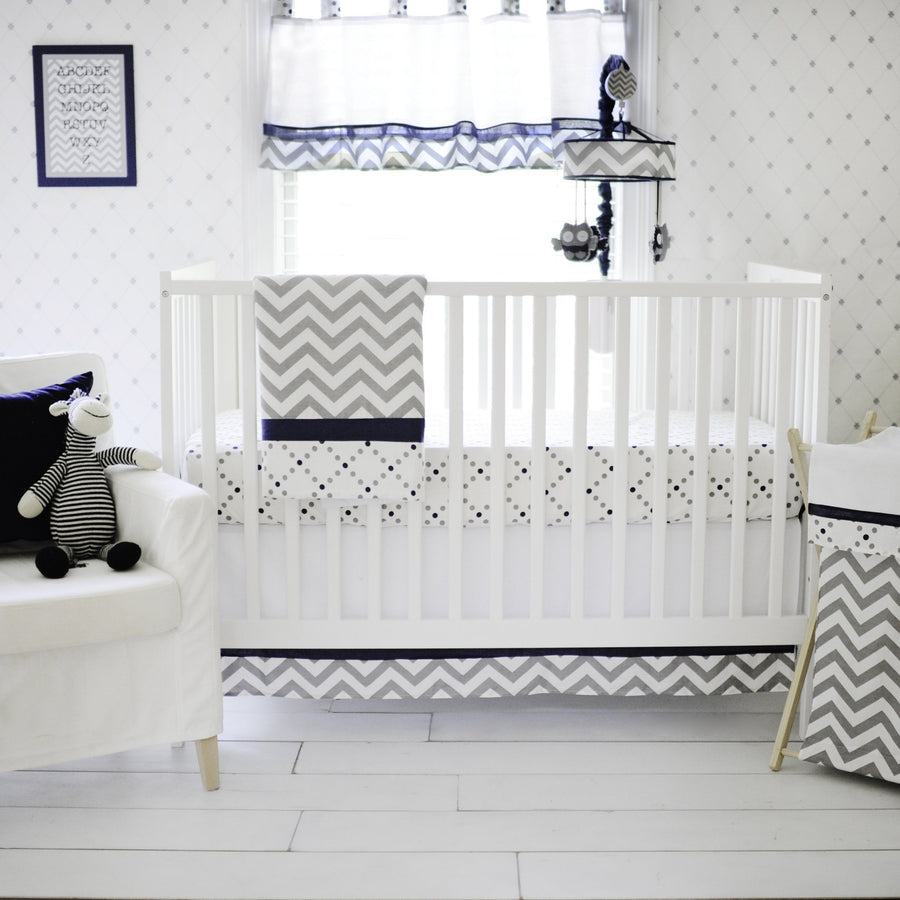Gray and Navy Out of the Blue Crib Bedding Set