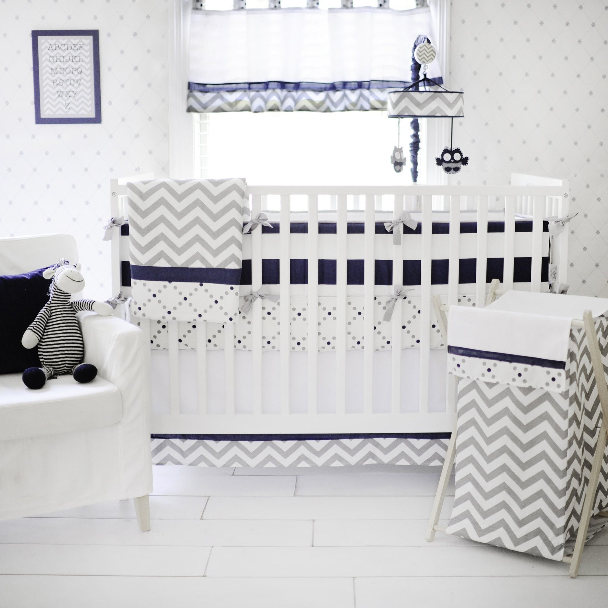 Gray and Navy Out of the Blue Crib Bedding Set-Crib Bedding Set-Jack and Jill Boutique