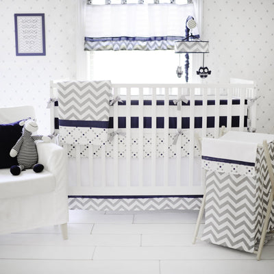 Gray and Navy Out of the Blue Crib Bedding Set-Crib Bedding Set-Default-Jack and Jill Boutique