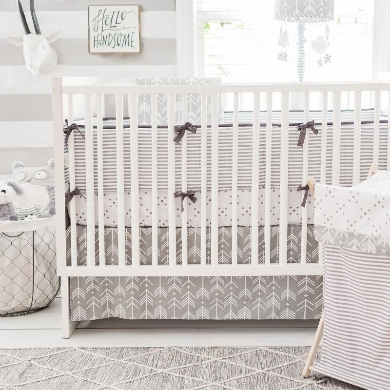 Gray Arrow Crib Baby Bedding Set | Little Adventurer Collection-Crib Bedding Set-Sheet + Skirt + Blanket-Jack and Jill Boutique