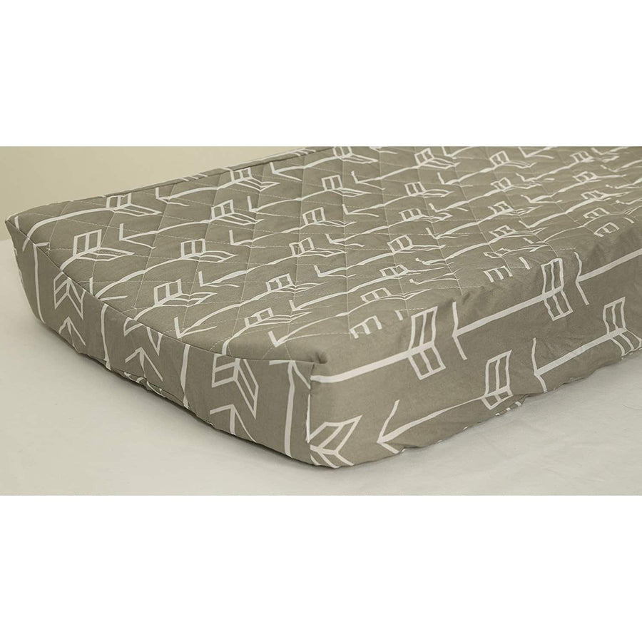'-Jack and Jill Boutique-Gray Arrow Quilted Changing Pad Cover (White)