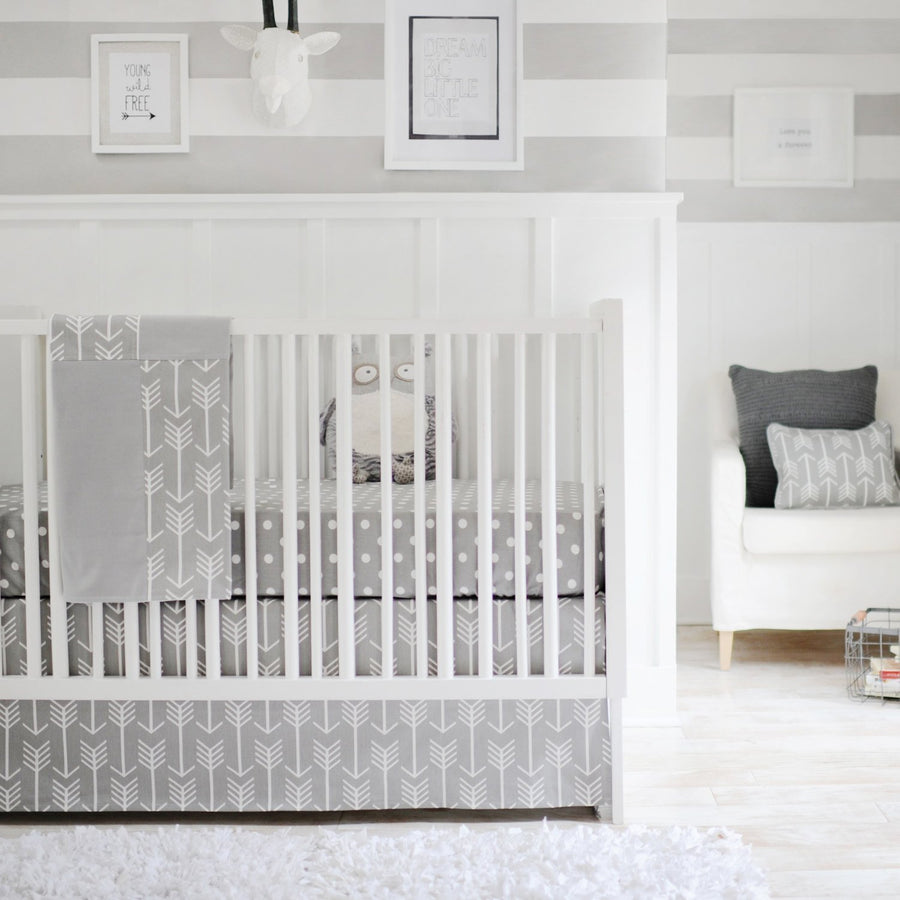Gray Arrow Wanderlust in Gray Baby Bedding Set