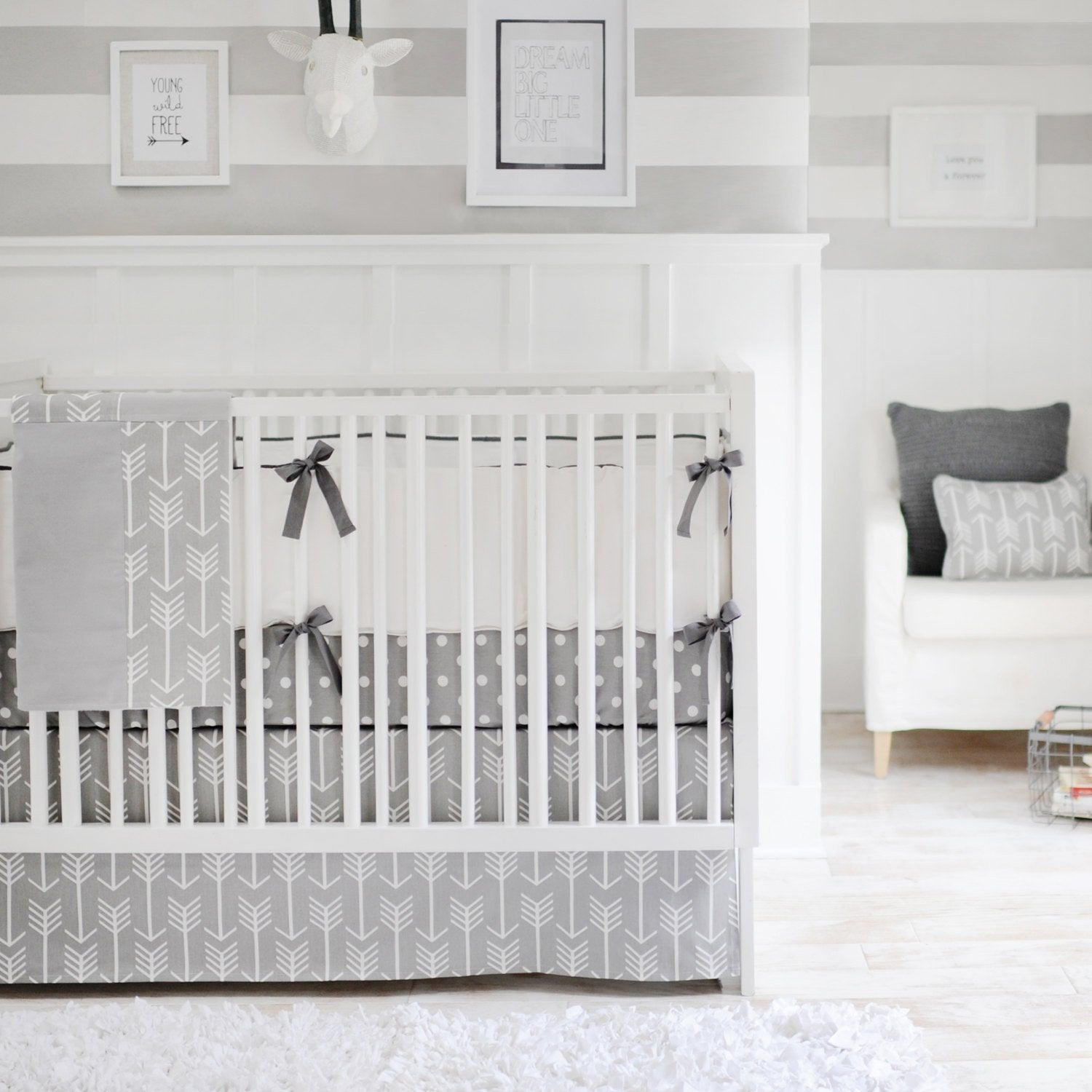 Gray Arrow Wanderlust in Gray Baby Bedding Set-Crib Bedding Set-Jack and Jill Boutique