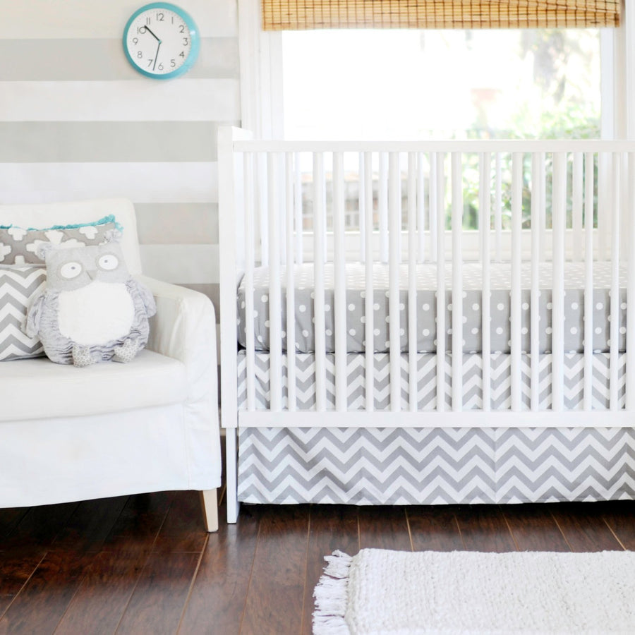 Gray Chevron Zig Zag Baby Baby Bedding Set-Crib Bedding Set-Default-Jack and Jill Boutique