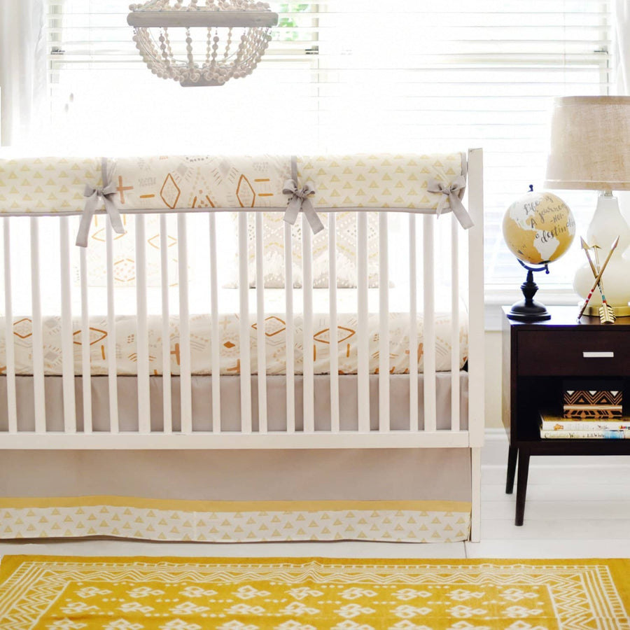 Gray & Gold Tribal Head West Baby Bedding Set-Crib Bedding Set-Default-Jack and Jill Boutique