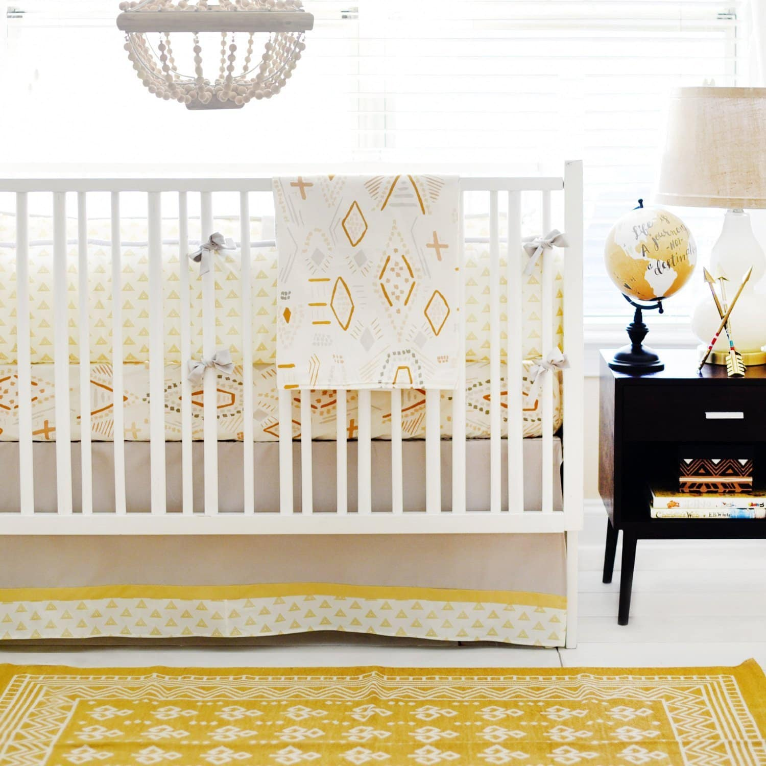 Gray & Gold Tribal Head West Baby Bedding Set-Crib Bedding Set-Jack and Jill Boutique