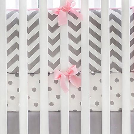 Gray & Pink Chevron Crib Baby Bedding Set-Crib Bedding Set-Default-Jack and Jill Boutique