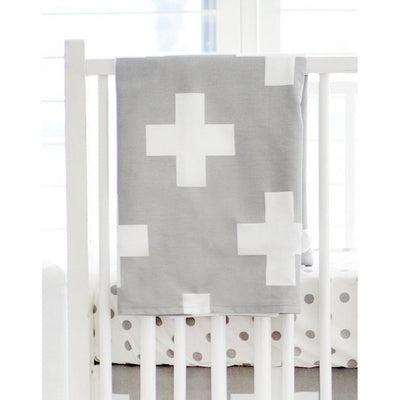 Gray & White Swiss Cross Modern Baby Bedding Set-Crib Bedding Set-Default-Jack and Jill Boutique