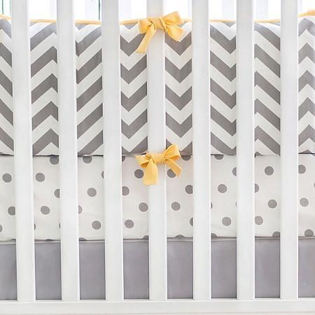 Gray & Yellow Chevron Crib Baby Bedding Set