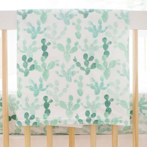 Green Blanket | Cactus Cacti Crib Baby Bedding Set-Baby Blanket-Jack and Jill Boutique