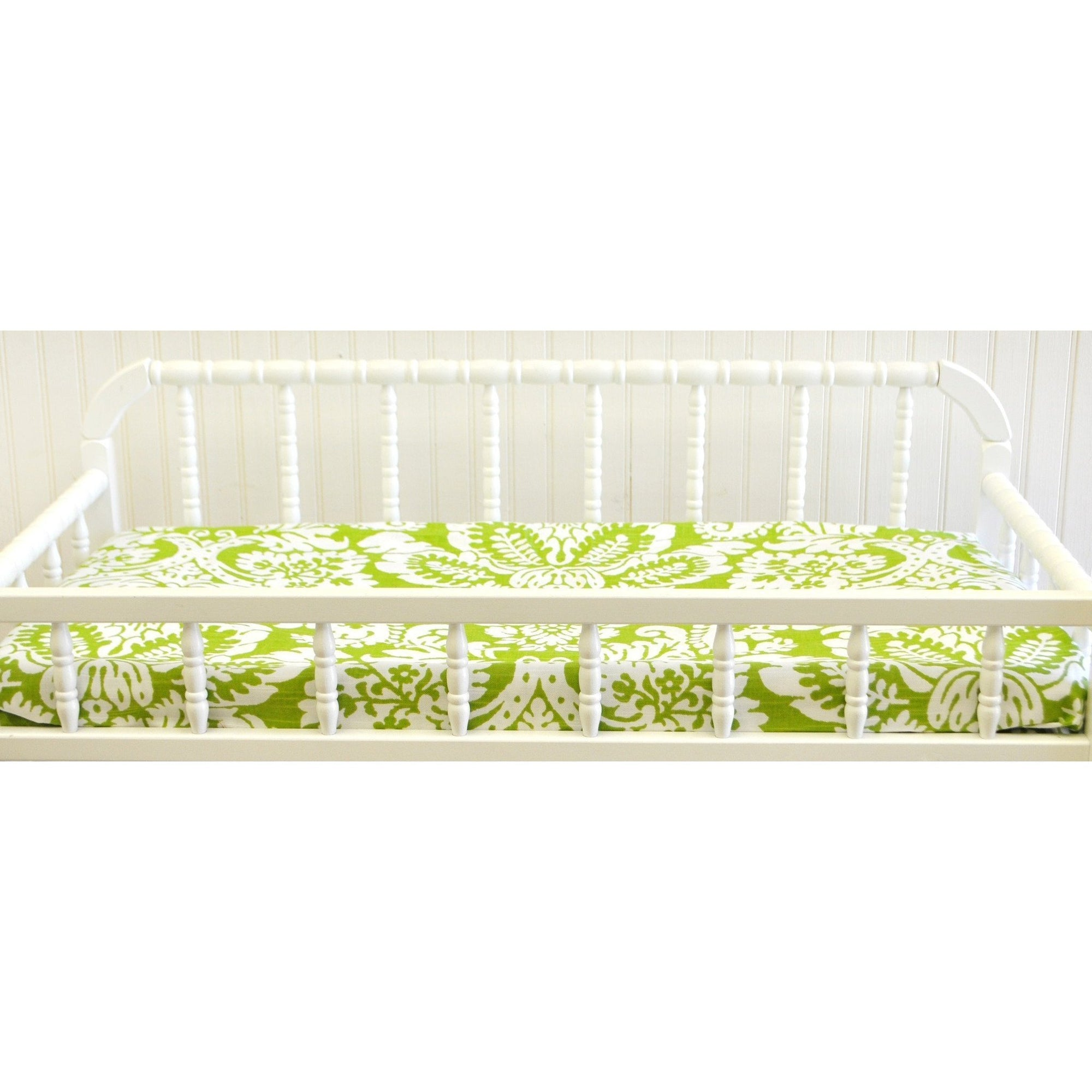 Green Damask Bloom in Apple Baby Bedding Set-Crib Bedding Set-Jack and Jill Boutique