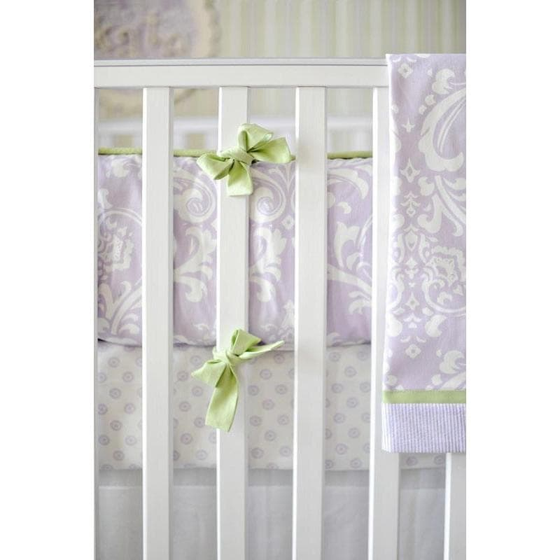 Green & Lavender Bumper | Lavender & Gray Damask Wisteria in Lavender Crib Baby Bedding Set