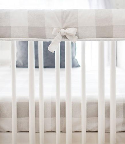 Gray Buffalo Plaid Crib Bedding Set