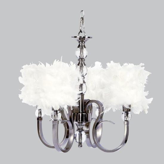 Hampton Four-Light Chandelier with White Feather Drum Shades-Chandeliers-Default-Jack and Jill Boutique