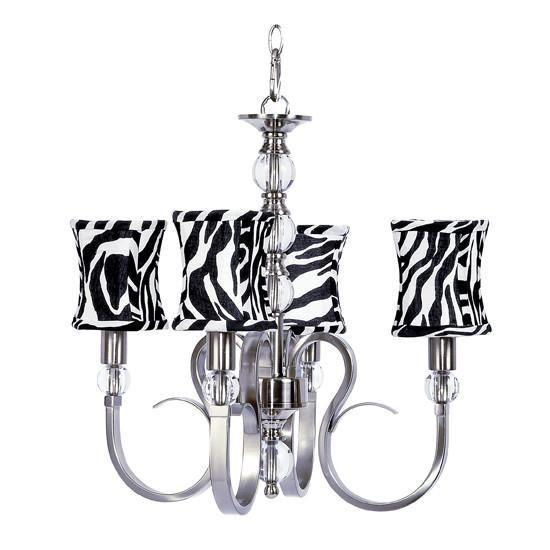 Hampton Four-Light Chandelier with Zebra Print Hourglass Shades-Chandeliers-Default-Jack and Jill Boutique