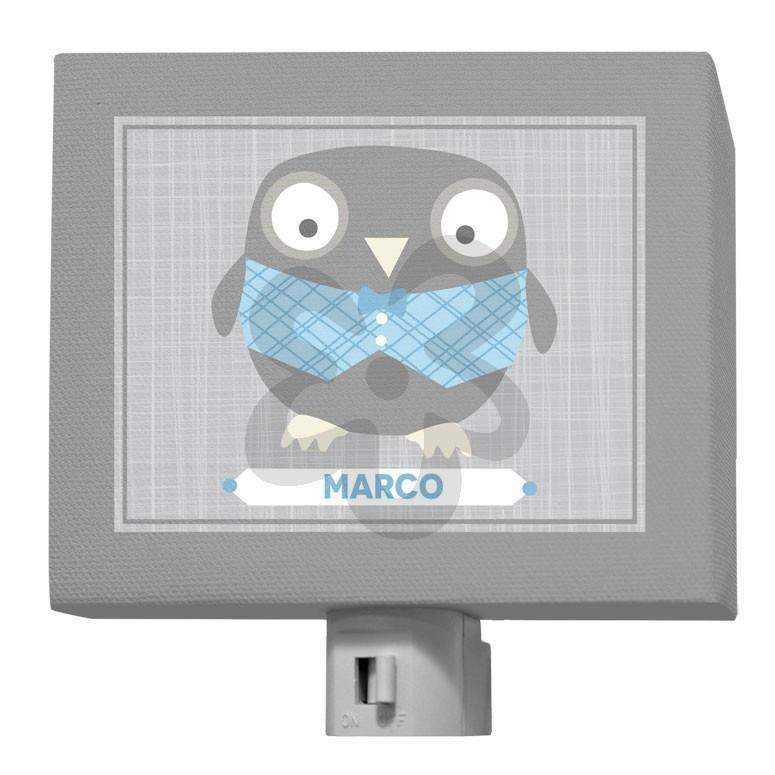 Happy Owl - Gray & Blue-Night Lights-5x4-Jack and Jill Boutique