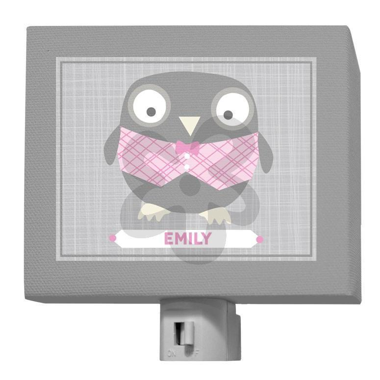 Happy Owl - Gray & Pink-Night Lights-5x4-Jack and Jill Boutique