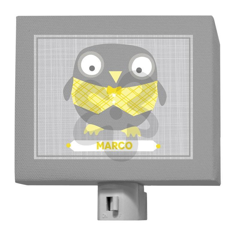 Happy Owl - Gray & Yellow-Night Lights-5x4-Jack and Jill Boutique