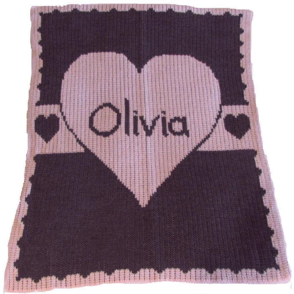 Heart with Banner Personalized Stroller Blanket or Baby Blanket-Blankets-Jack and Jill Boutique