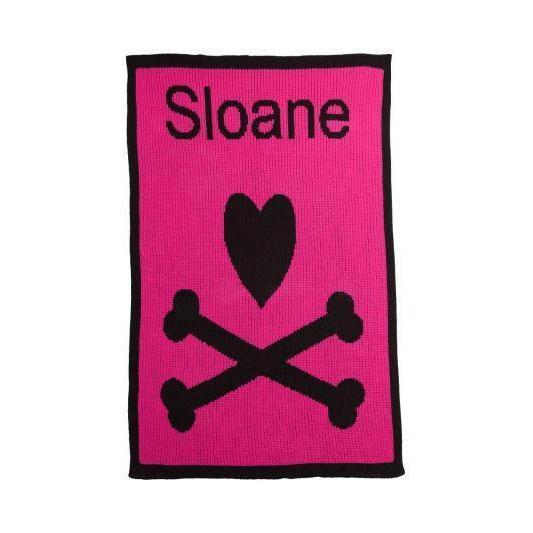 "Heart & Crossbones Personalized Stroller Blanket or Baby Blanket-Blankets-Stroller 22"" x 30""-Jack and Jill Boutique"