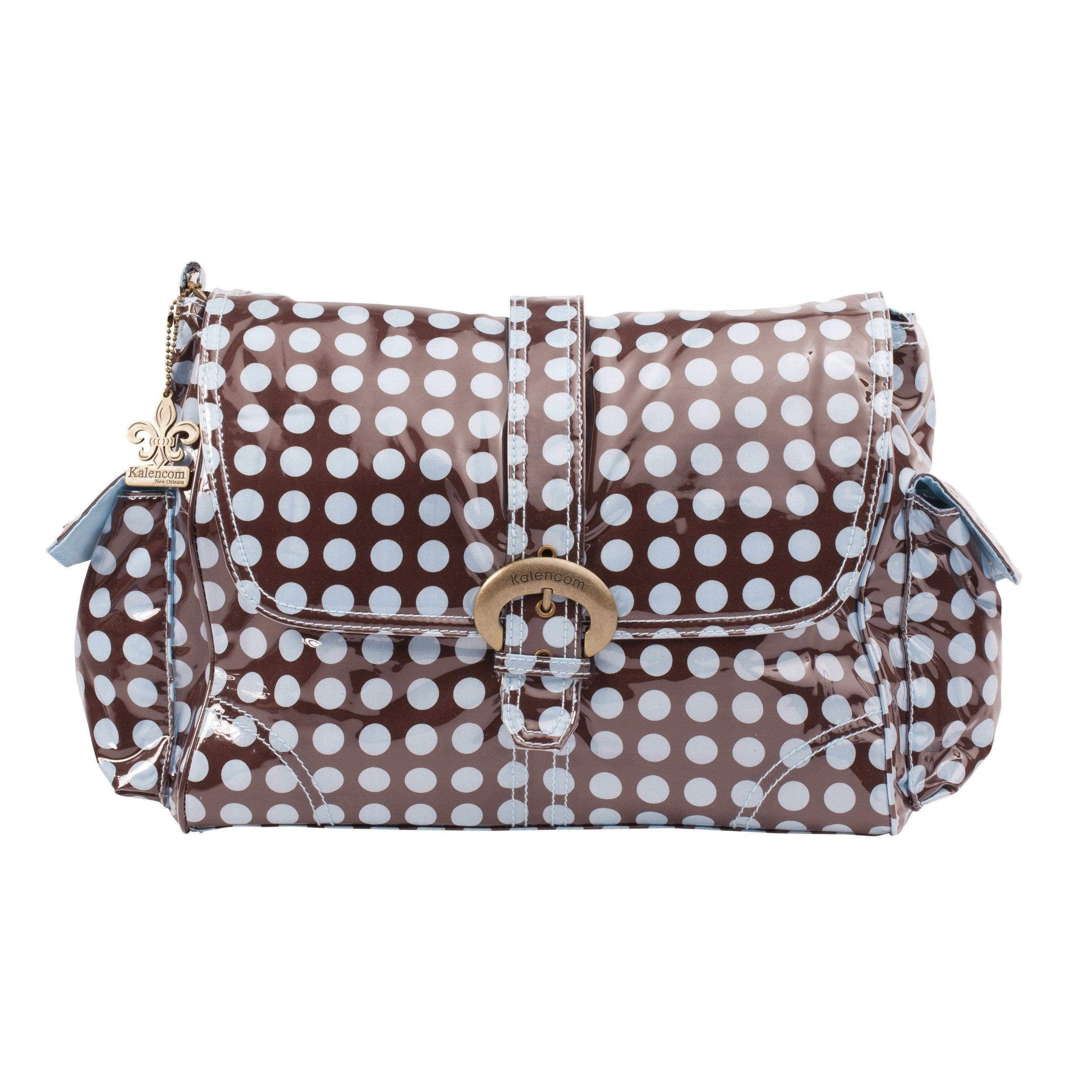Heavenly Dots - Chocolate Blue Laminated Buckle Diaper Bag | Style 2960 - Kalencom-Diaper Bags-Jack and Jill Boutique