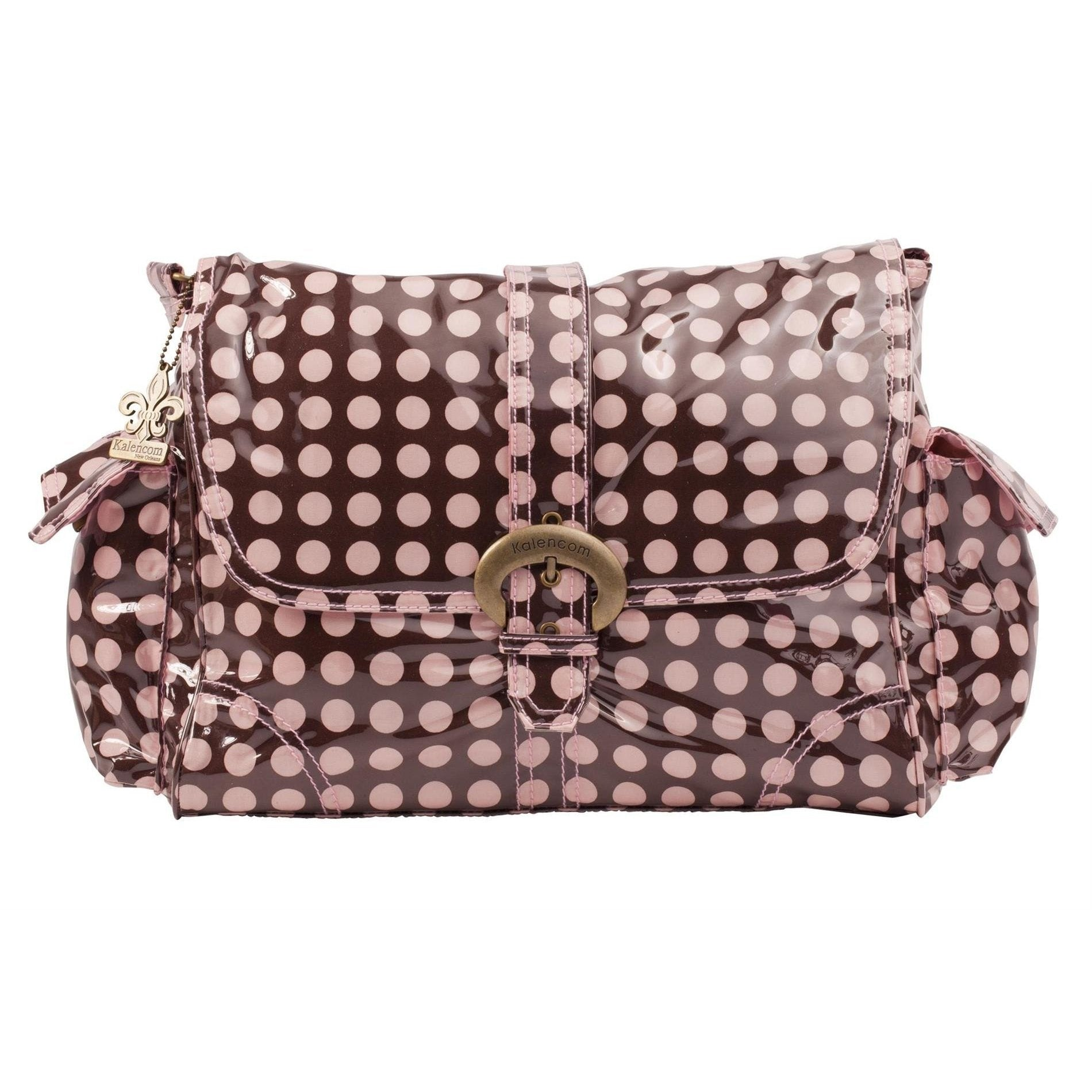 Heavenly Dots - Chocolate-Pink Laminated Buckle Diaper Bag | Style 2960 - Kalencom-Diaper Bags-Jack and Jill Boutique