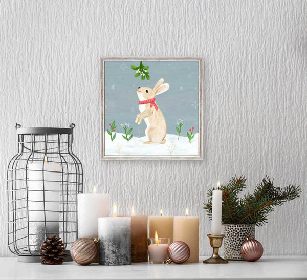 Holiday Collection Christmas Rabbit And Mistletoe Mini Framed Canvas Jack And Jill Boutique