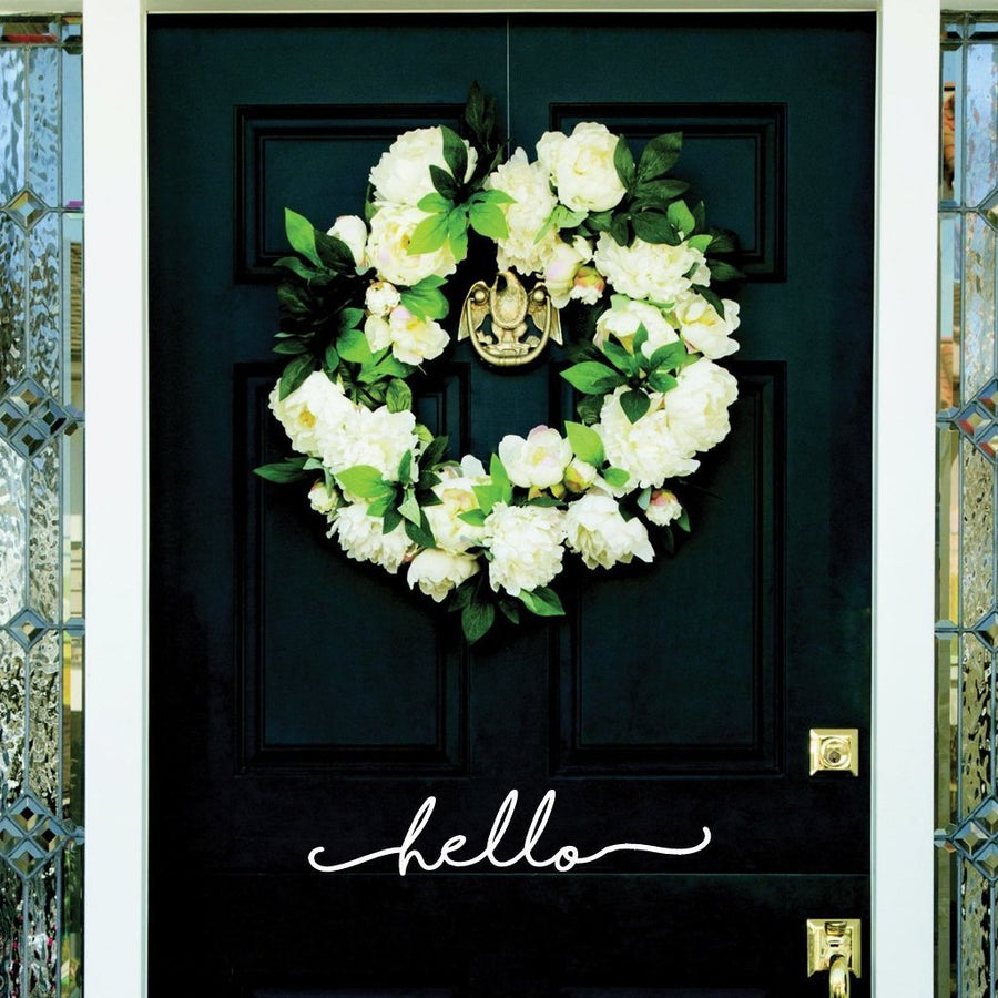 Hello Door Vinyl Sticker-Decals-3 H x 16.5 W-Jack and Jill Boutique