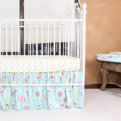 Hot Air Balloon Baby Bedding | Aqua, Coral Crib Bedding Set-Crib Bedding Set-Sheet & Skirt-Jack and Jill Boutique