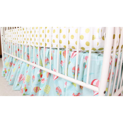 Hot Air Balloon Baby Bedding | Aqua, Coral Crib Bedding Set-Crib Bedding Set-Skirt Only-Jack and Jill Boutique