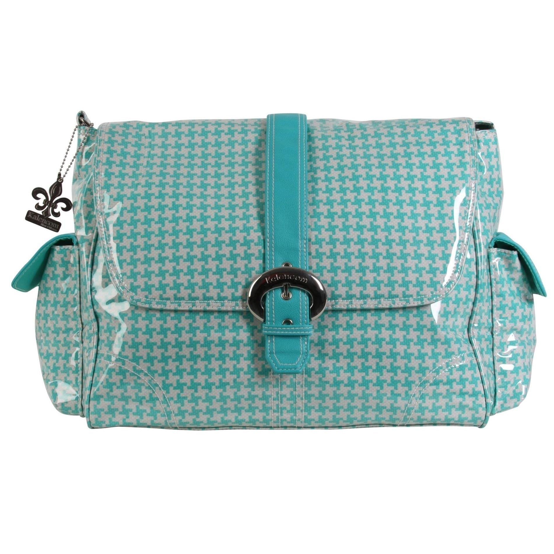 Houndstooth - Aqua Laminated Buckle Diaper Bag | Style 2960 - Kalencom-Diaper Bags-Jack and Jill Boutique