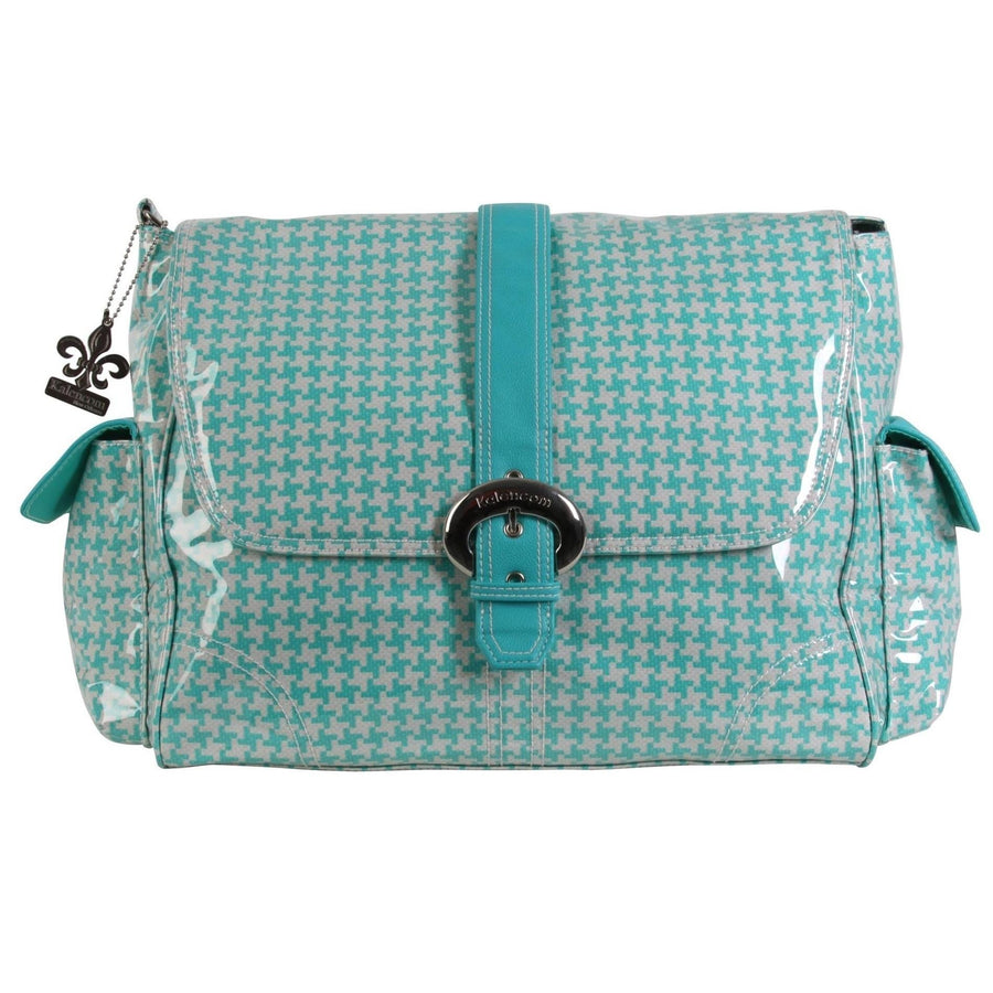 Houndstooth - Aqua Laminated Buckle Diaper Bag | Style 2960 - Kalencom-Diaper Bags-Default-Jack and Jill Boutique