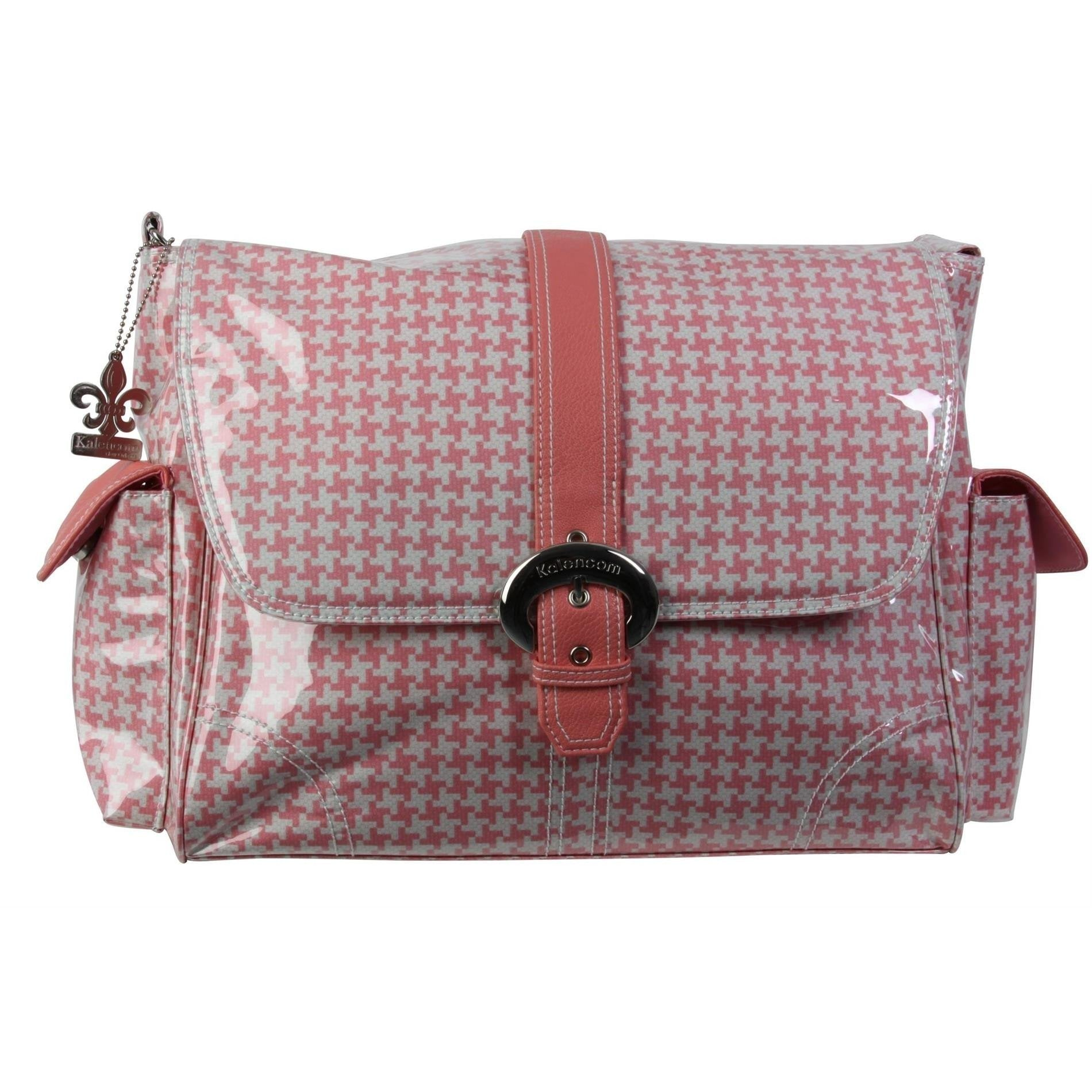 Houndstooth - Pink Laminated Buckle Diaper Bag | Style 2960 - Kalencom-Diaper Bags-Jack and Jill Boutique
