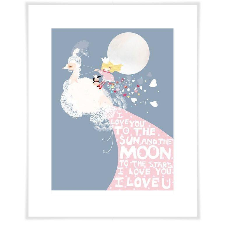 I Love You To the Sun And The Moon - Blue-Art Print-Jack and Jill Boutique