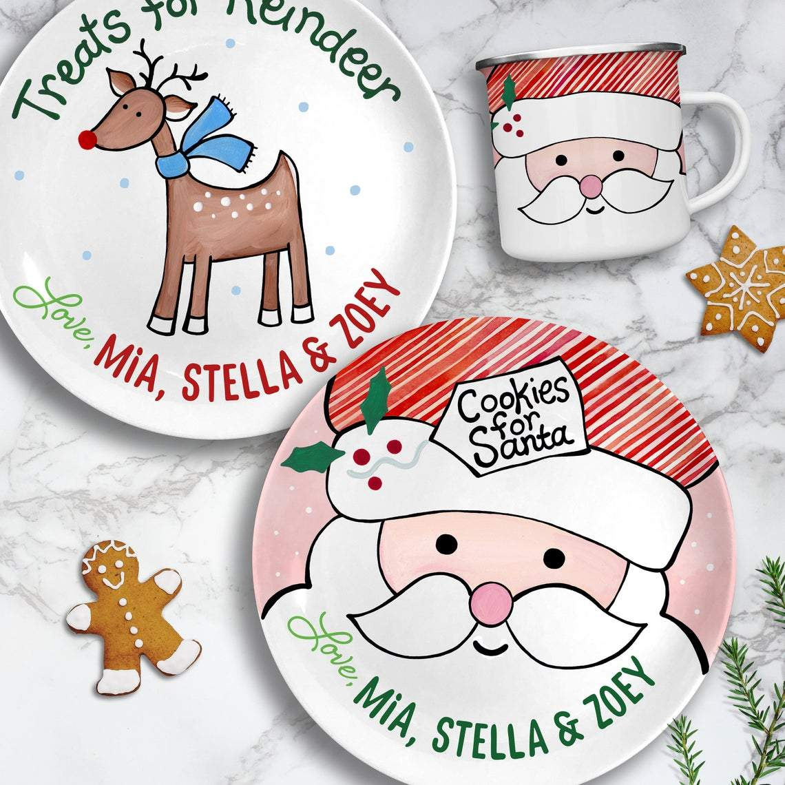 Cookies for Santa Plate Set - Kids Personalized Gifts (Style 1)-Gifts-Santa Plate + Reindeer-Pink-Jack and Jill Boutique