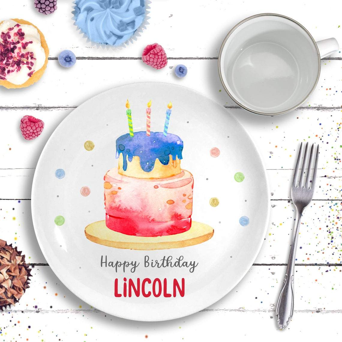 Birthday Cake Plate - Personalized Gift for Little Girl / Boy-Gifts-Plate + Mug-Red-Boy-Jack and Jill Boutique