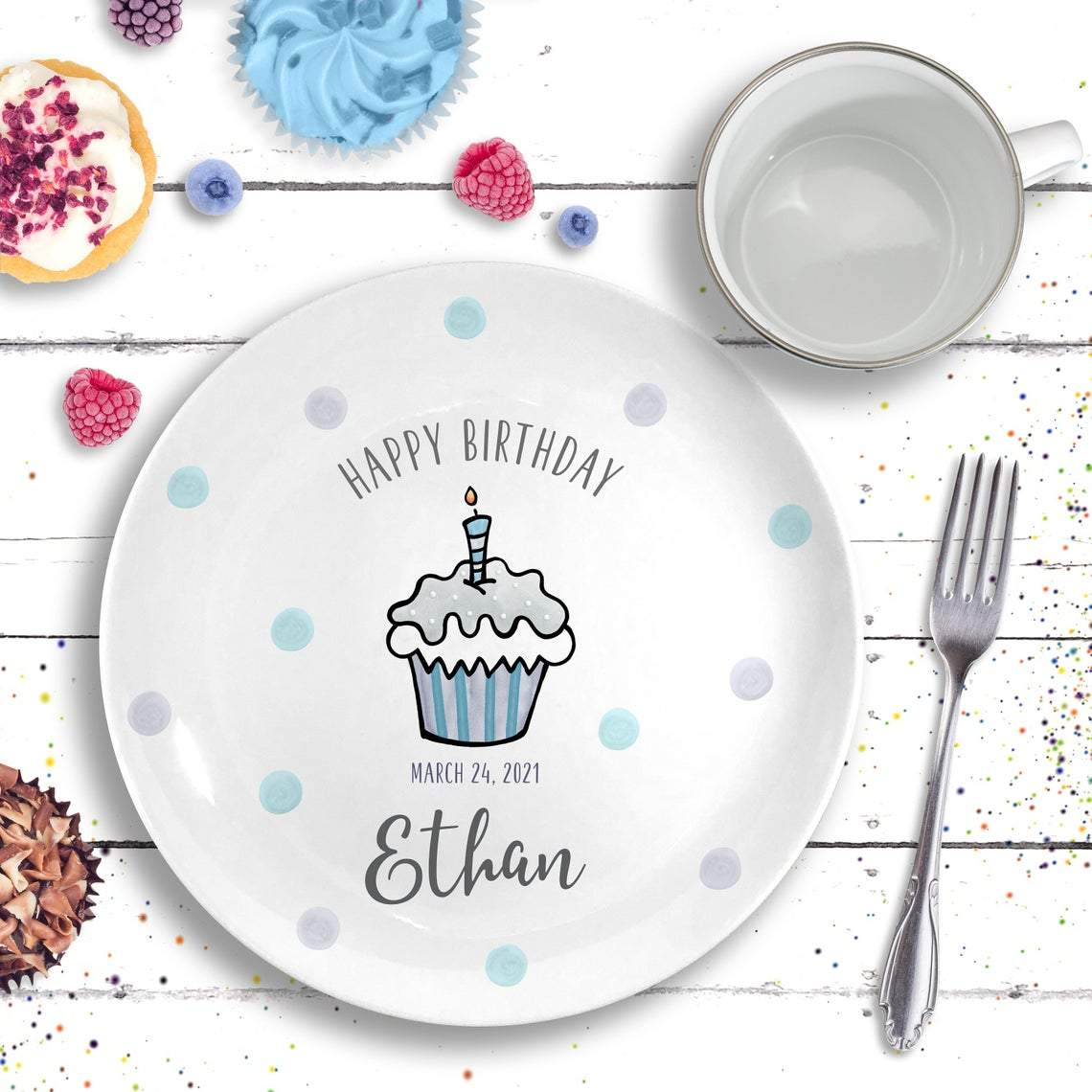 Personalized Ceramic - Birthday Party Decor For Baby Girl / Boy-Gifts-Plate + Mug-Grey-Boy-Jack and Jill Boutique