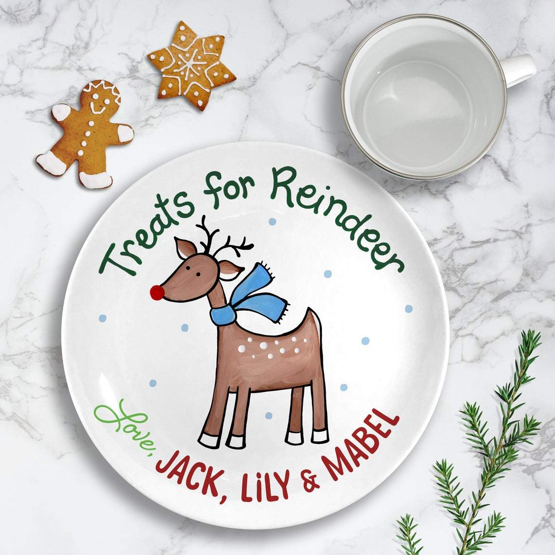 Cookies for Santa Plate Set - Kids Personalized Gifts (Style 2)-Gifts-Santa Plate + Reindeer-Pink-Jack and Jill Boutique
