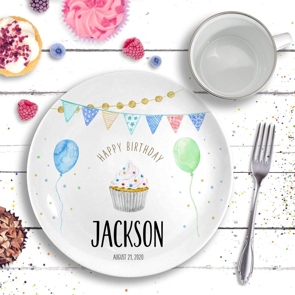 Birthday Plate Ceramic - Personalized Birthday Gift-Gifts-Plate-Grey Cupcake-Boy-Jack and Jill Boutique