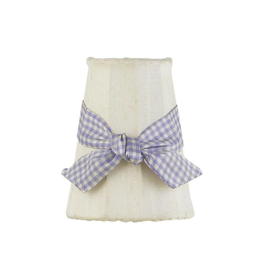 Ivory Sconce Shade with Lavender Check Sash