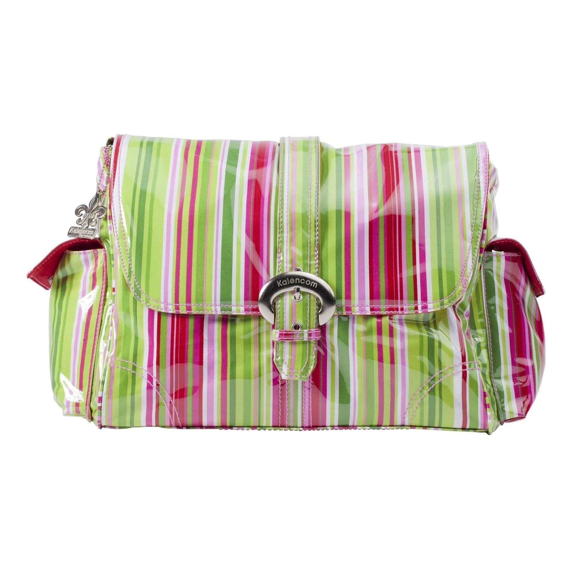 Jazz Stripes Ruby Laminated Buckle Diaper Bag | Style 2960 - Kalencom-Diaper Bags-Jack and Jill Boutique