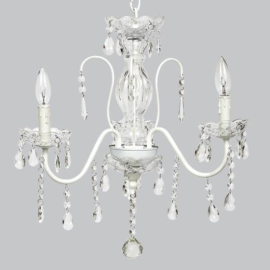 Jewel Glass White Three Light Mini Chandelier-Chandeliers-Default-Jack and Jill Boutique