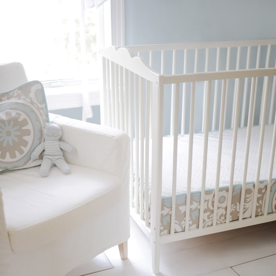 Khaki & Aqua Suzani Picket Fence Baby Bedding Set-Crib Bedding Set-Default-Jack and Jill Boutique